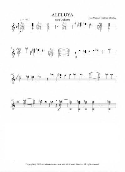 Sheet music for Guitar I – Level of difficulty: Moderate