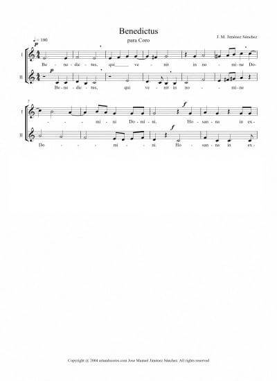 Partitura para Coro II - Nivel de dificultad: fácil