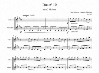 Sheet music for Violin X - Level of difficulty: Moderatey