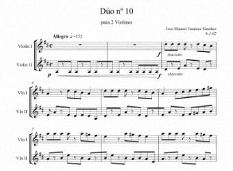 Artandscores | Partitura dúo violín X - Nivel de dificultad: Moderada