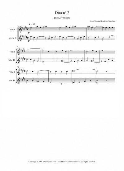 Sheet music for 2 Violins II – Level of difficulty: Easy