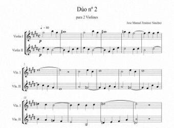 Artandscores | Partitura para 2 violines II - Nivel de dificultad: fácil