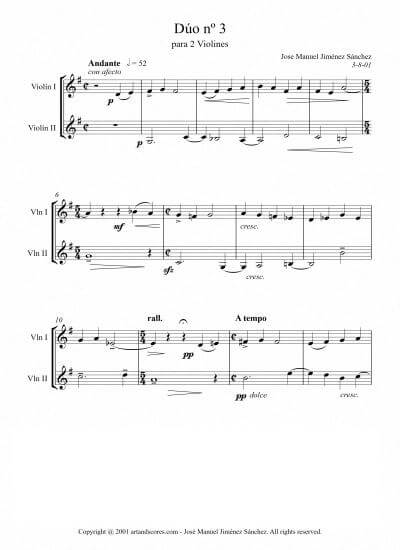 Sheet music for 2 Violins III - Level of difficulty: Easy