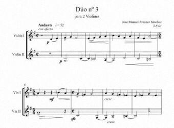 Artandscores | Partitura para 2 violines III - Nivel de dificultad: fácil
