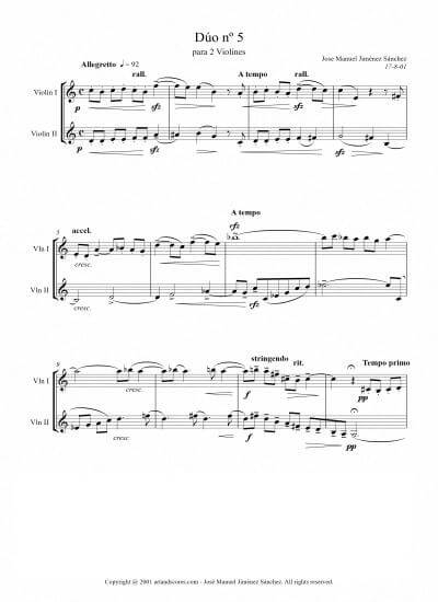 Sheet music for 2 Violins V – Level of difficulty: Moderate