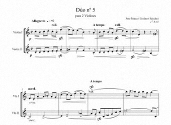 Sheet music for Violin V - Level of difficulty: Moderatey