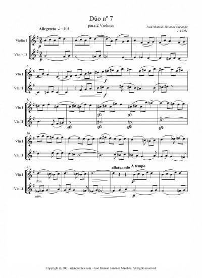 Artandscores | Sheet music for 2 Violins VII – Level of difficulty: Moderate