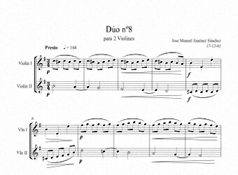 Sheet music for Violin VIII - Level of difficulty: Moderatey