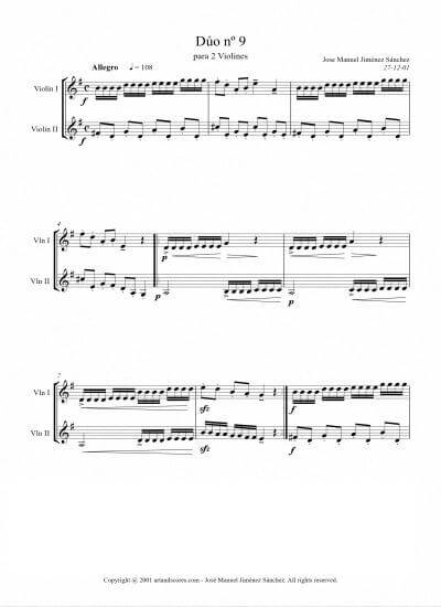 Sheet music for 2 Violins IX - Level of difficulty: Moderate