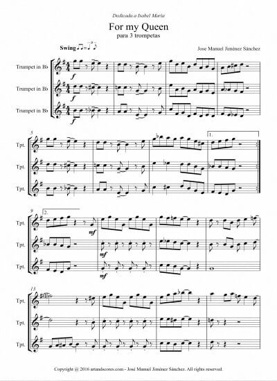 Sheet music for three trumpets- Level of difficulty: Moderate