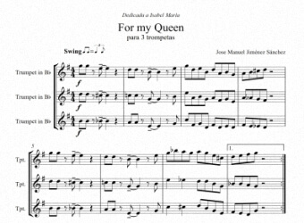 Partitura para tres trompetas - Nivel de dificultad: Moderado