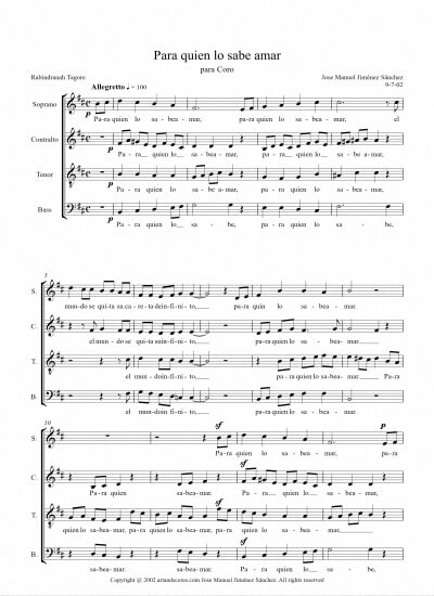 Sheet music for Choir V - Level of difficulty: Moderate