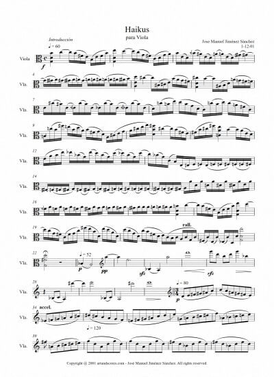 Sheet music for Viola - Level of difficulty: Moderate