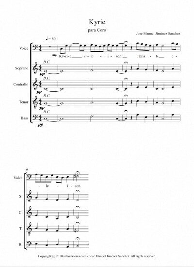 Sheet music for Choir III - Level of difficulty: Easy