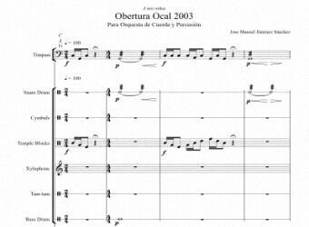 Partitura para Orquesta de cuerda y percusion - Nivel de dificultad: Moderado
