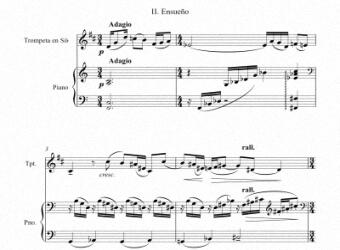Partitura para trompeta y piano II - Nivel de dificultad: Moderado © artandscores.com