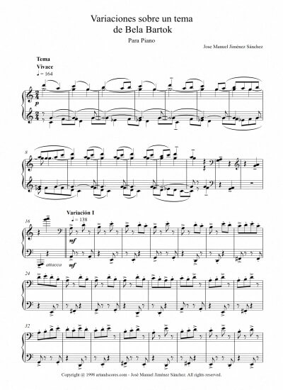 Sheet music for Piano V – Level of difficulty: Difficult