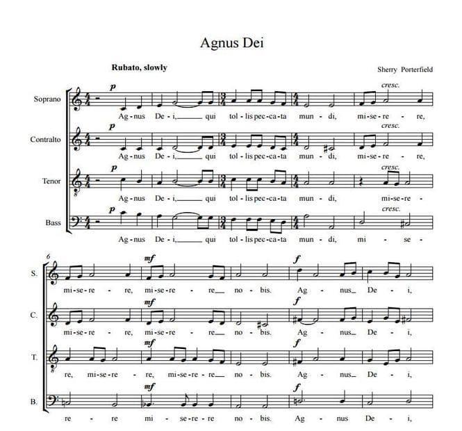Agnus Dei - Sherry Porterfield, for choir