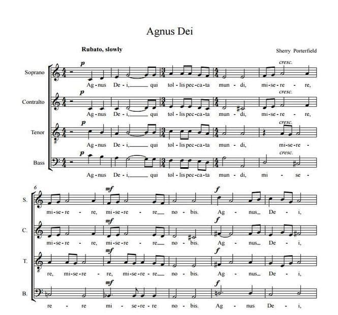 Agnus Dei - Sherry Porterfield, for choir