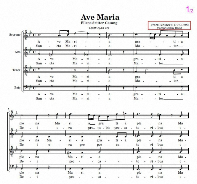 Ave María – Franz Schubert. Sheet music for choir SATB