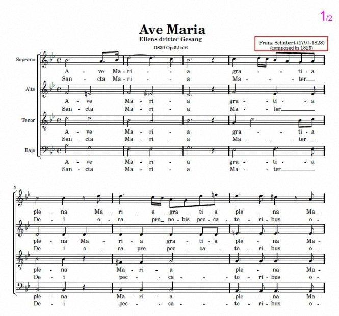 Ave María – Franz Schubert. Sheet music for choir SATB