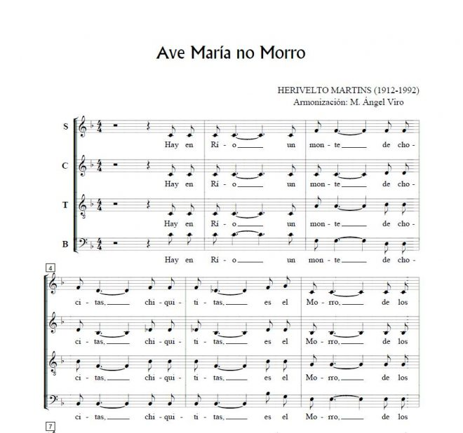 Ave Maria no morro – H. Martins for choir SATB