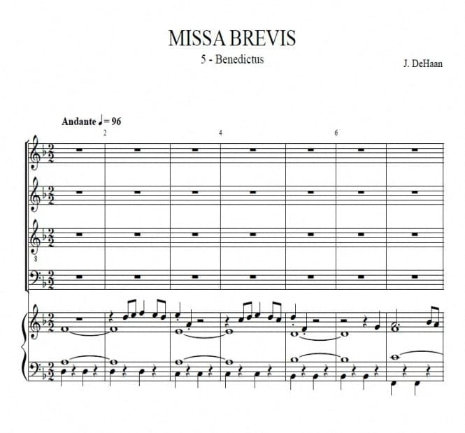 Benedictus from Missa Brevis - Jacob de Haan, for choir and concert band or organ