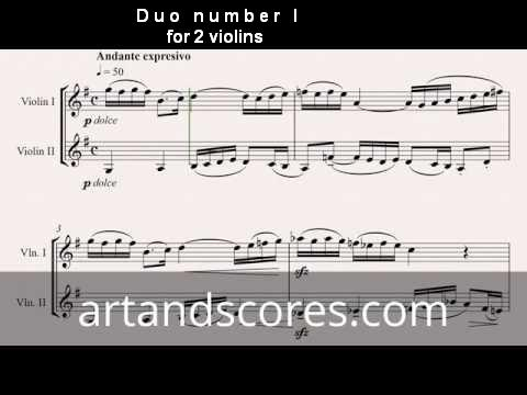 Duo number 1, for 2 violins. Sheet music © Artandscores.com