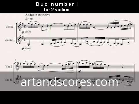 Duo number 1, for 2 violins. Sheet music © Artandscores.com