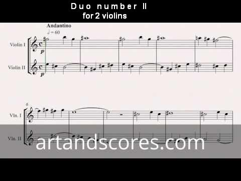 Duo number 2, for 2 violins. Sheet music © Artandscores.com