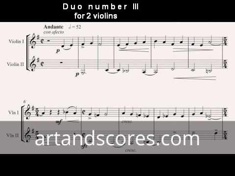 Duo number 3, for 2 violins. Sheet music © Artandscores.com