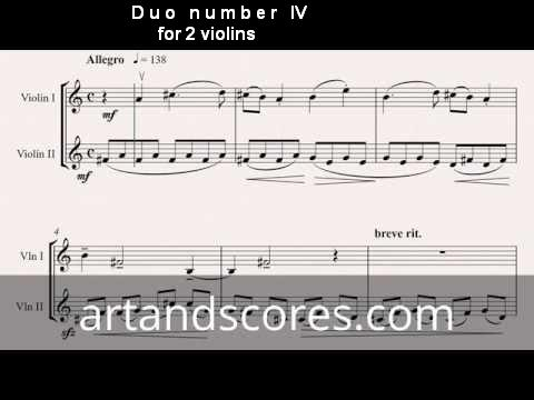 Duo number 4, for 2 violins. Sheet music © Artandscores.com