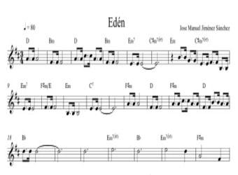 Partitura con acordes II - Nivel de dificultad: Moderado