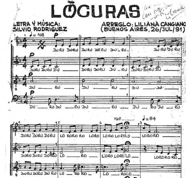 Locuras – Silvio Rodriguez & Liliana Cangiano. Best choir music – artandscores