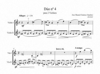 Sheet music for 2 violins IV - Level of difficulty: Moderate
