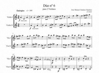 Sheet music for 2 violins VI - Level of difficulty: Moderate