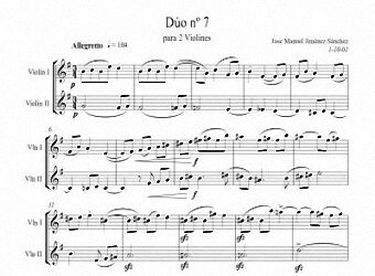 Sheet music for 2 violins VII - Level of difficulty: Moderate