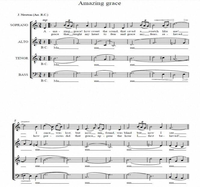 Artandscores | Amazing grace - J.Newton (Arr. R.C.)